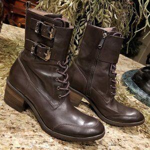 Donald J Pliner DANTI Brown Leather Combat Boots